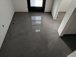 Front entry faux concrete floor