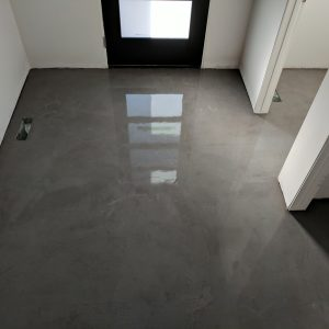 Front entry faux concrete floor