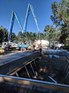 Concrete pool deck pumping