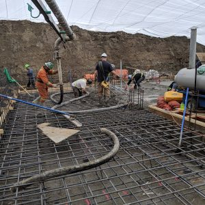 Thick commercial slab pouring