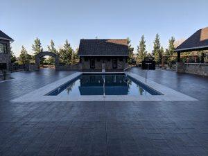 Wood grained stamped pool deck