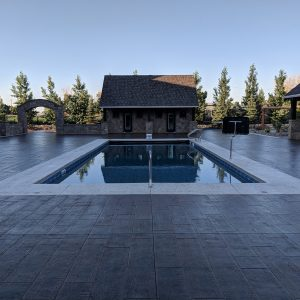 Wood grained stamped pool deck